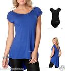 Plus size 16-26 UK Ladies womans dipped hem summer holiday top blue or black