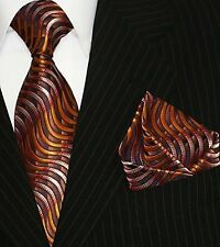 Krawatte Krawatten Set mit Einstecktuch Schlips Binder de Luxe 525 Orange