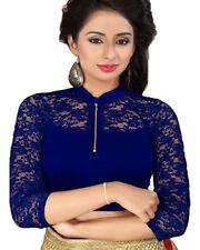 Ready Made Navy Blue Lycra Free Size Designer Sari Saree Choli Top Blouse-GC109