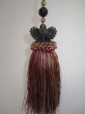 Burgundy and gold ornament tassel with vintage brown Crown Tuscan Chic 71/2""