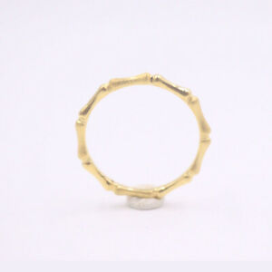 New Pure 24K Yellow Gold Ring Band Bamboo Shape For Women Size 7