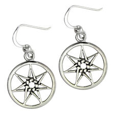 Sterling Silver Septagram Heptagram Fairy Star Earrings Jewelry Wicca Fairie