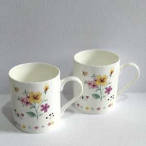 Staffordshire Kilns Handcrafted Bone China Floral Mugs x 2.