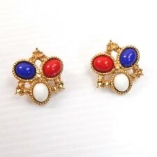 Vintage Sarah Coventry Signed Red White And Blue Cabochon Gold Tone Earrings
