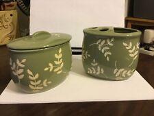 Sage Leaves Cotton Jar And Toothbrush Holder