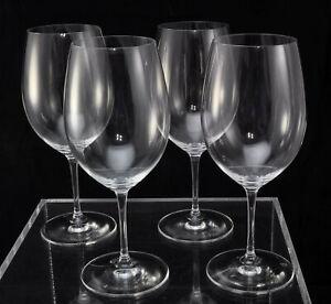 """Set of 4 Vintage Riedel Vinum Red Cabernet Wine Glasses """"JR"""" Logo Prior to 1997"""