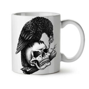 Scary Crow On Skull NEW White Tea Coffee Mug 11 oz | Wellcoda