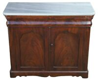 """Antique American Empire Flamed Mahogany Marble Console Chest Cabinet Console 37"""""""