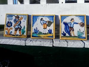 3 Spanish Antique Rustic Tiles Hand Painted Trades Catalonia Rajolas Azulejos