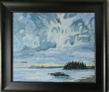 2011 Mark A Brennan Canadian Artist Oil on Board Grey Atlantic Morning 11 X 13
