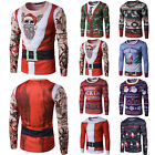 Mens Christmas Xmas 3D Printing Long Sleeve Fit Casual T-Shirt Tops Party Shirts
