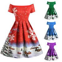 Fashion Women Vintage Christmas Snowflake Print Off Shoulder A Line Swing Dress