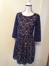 FRENCH CONNECTION Purple Lace Overlay DRESS Lined Fitted Bodice Full Skirt 10