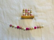 Baby Toddler Girls Room Accessories Pink, White & Wood Abacus & Felt Garland