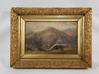 Antique original oil painting on canvas, Landscape, Mill, Water Wheel, Unsigned