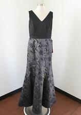 NWT Black Silver Gray Floral Trumpet Flared Evening Dress Formal Size 6