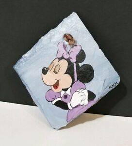 """Hand Painted Marilyn Morin Minnie Mouse Disney 4"""" Decorative Slate Tile"""