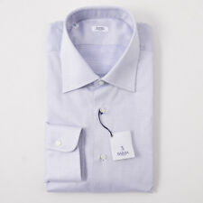 NWT $350 BARBA NAPOLI White and Navy Dot Cotton Dress Shirt 17 x 37 Handmade