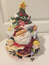 Fitz and Floyd Singing Santa Christmas Tree Centerpiece Cookie Jar Original Box