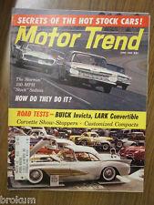 MOTOR TREND JUNE 1960 CORVETTE SHOW STOPPERS, BUICK INVICTA, LARK CONVERTIBLE