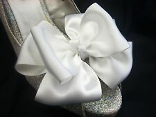White ShOe CLiPs Clips 4 Shoes Bridal Satin Bows 4 Shoe Wedding Shoes Court