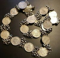 Old World Coin Necklace ☆17 Silver Coins - 202 Grams 15x200 Reis -1909, 1891, 92