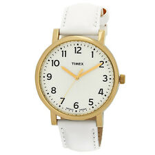 TIMEX Easy To Read Indiglo White Leather Strap Watch - T2P170