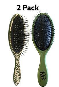 2 Pack Wet Brush Detangler Metallic Safari Snake & Hunter Green