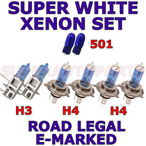 DAEWOO MUSSO SUV 1999-2000 SET H3 H4 501 W5W XENON LIGHT BULBS