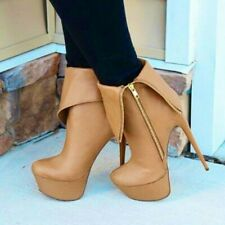 Womens High Heels Boots Platform Stilettos Heel Zip Ankle Boots Party Shoes Size