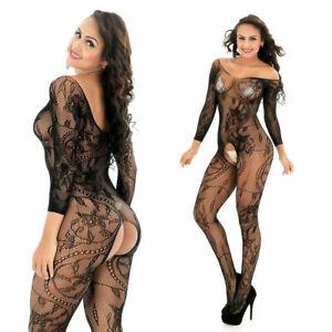 Black Fishnet Mesh Body Stocking Bodysuit Nightwear Lingerie Dress Style 606