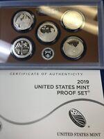 NEW !!! 2019 Clad PROOF DEEP CAM America Beautiful Quarts 5 coin set .PLASTIC CA