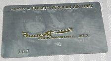 Rare Vintage Faucett Peruvian Air Lines Metal Ticket Validation Plate Travel