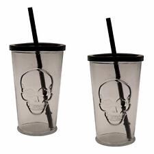 Drinking Glasses With Skull Embossed Design (2 Pack, Black Lid) Lid Straw Glass