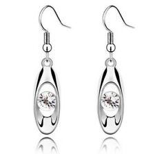 Platinum Water Drop White Crystal Diamond Like Dangle Hook Earrings! Gorgeous!