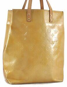 Authentic Louis Vuitton Vernis Reade MM Hand Bag Yellow LV C1227
