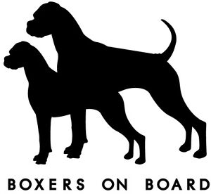 Boxer Dog on board car sticker vinyl decal - fully customisable