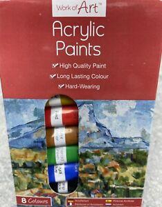 ACRYLIC COLOUR PAINTS - 8 COLOURS - art - artist - BRAND NEW STATIONARY