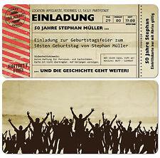 Einladungskarten Für Geburtstag U2022 Eintrittskarte U2022 Ticket U2022 Karte U2022  Einladung
