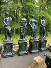 BEAUTIFUL 4 SEASONS CAST IRON INDOOR OR OUT STATUES ON BASES - R1092