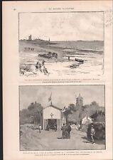 BALEINES  SAINT VAAST LA HOUGUE QUETTEHOU TOMBE AMIRAL COURBET 1886 GRAVURE
