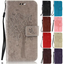 Cat Tree Stand Wallet Leather Flip Case Cover For HTC One M8 M9 Desire 825 830