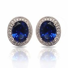 .22 CTW DIAMOND HALO SEMI MOUNT STUD EARRINGS 14K WHITE GOLD MIL-GRAINED EDGES