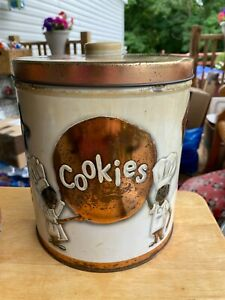 VINTAGE ~J.L. CLARK ~COOKIE TIN~ CANISTER ~COOKIES~CHEFS~ROLLING PINS