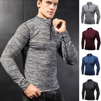 Men's Thermal 1/4 Zip Mock Neck Shirt Workout Fitness Compression Top Base Layer