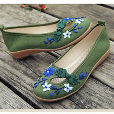 Ethnic Women Ballet Sandals Embroidered Flower Shoe Mary Jane Pump Autumn Spring