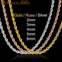 """2/3/4/5/6mm Rope Link Chain 18K Yellow Rose White Gold Men Women Necklace 18-40"""""""