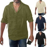 Mens T Shirt Long Sleeve Linen Shirts Hooded Casual Breathable Soft V Neck Tops