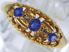 Antique 1909 Chester H'm 18ct Gold 3 Sapphire & 2 Diamond Dress Ring  U.K size N