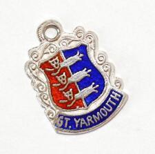 New listing Vintage Gt Yarmouth England Sterling Silver Enamel Travel Shield Charm 1.5g